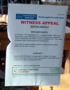 Witness appeal, Tyburn Wetherspoons pub
